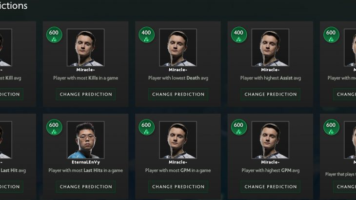 The International 2018 Battle Pass CompenduimのPredictionsは16日の深夜1時まで!急げ!!