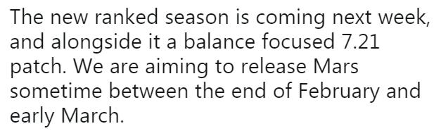 Rankの新シーズンは来週パッチ7.21と共にComing、新ヒーローMarsは2月~3月上旬に実装したいとのこと