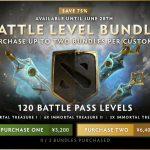 TI10 Battle Pass Level Bundleがきたぞ~、今年は最初から2つ購入可能で1つ+Lv120の3200円